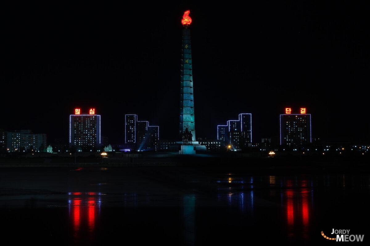 Juche Tower by night in Pyongyang