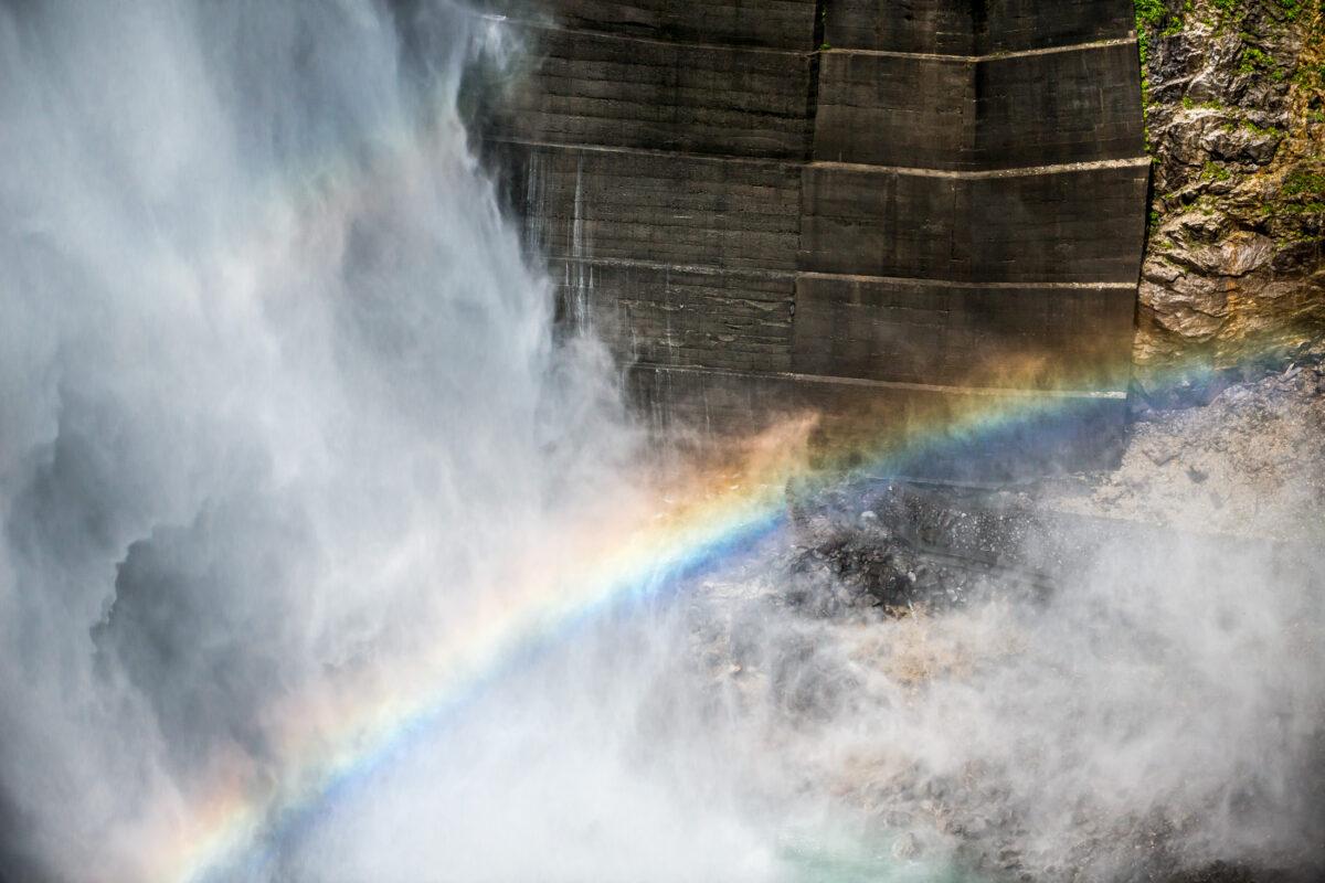 Rainbow and Ruins of the Kurobe Dam