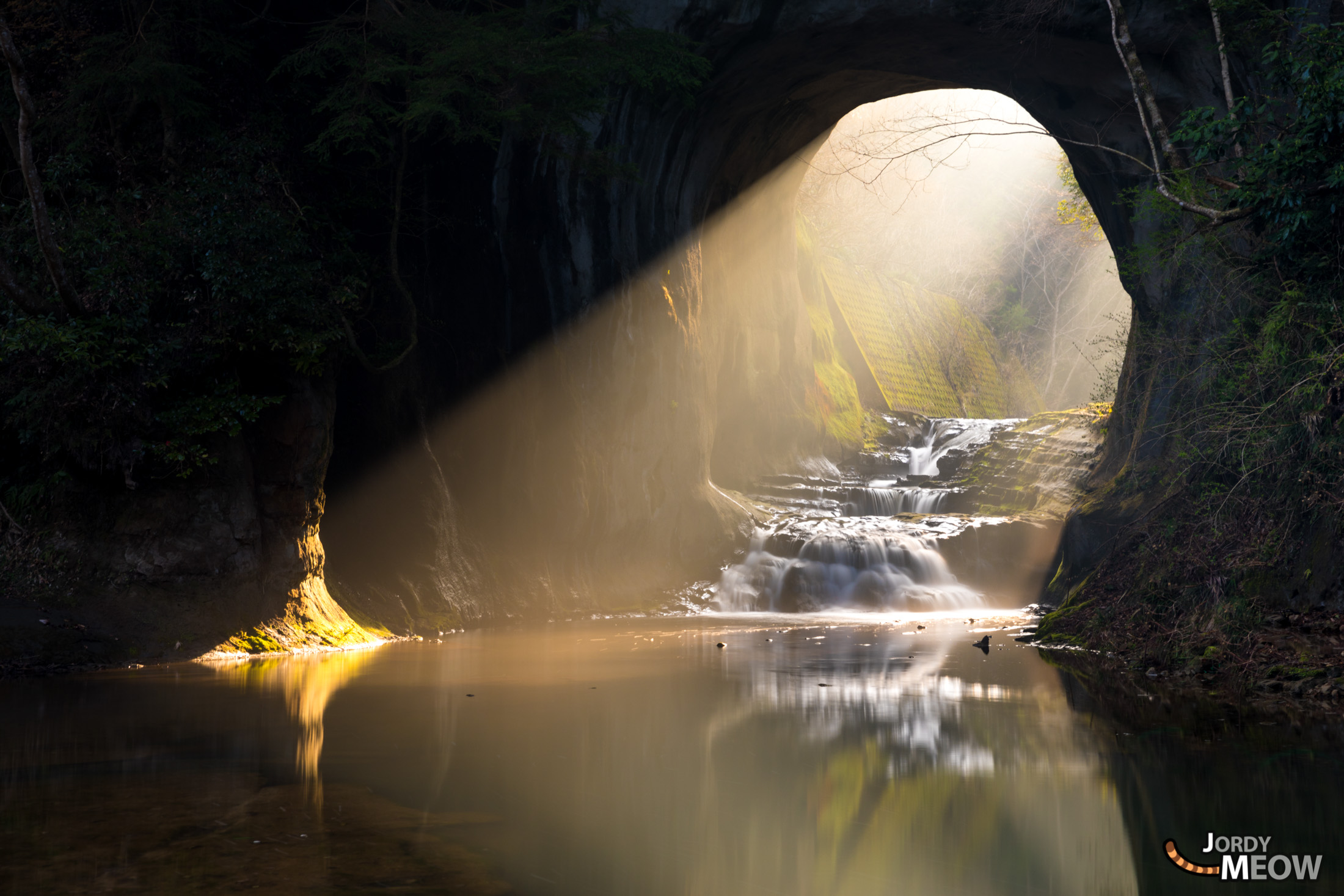 cave, chiba, japan, japanese, kanto, natural, nature, sunrise, waterfall